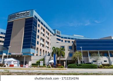 HOLLYWOOD, FLORIDA, USA - APR 22, 2020: Memorial Regional Hospital complex