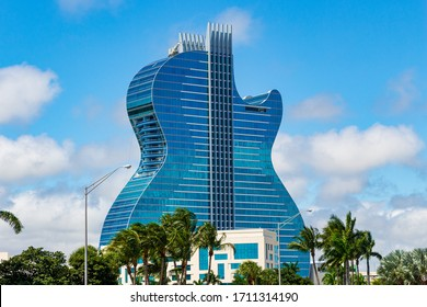 HOLLYWOOD, FLORIDA, USA - APRIL 6, 2020: Seminole Hard Rock hotel and casino, the largest guitar shaped building in the world