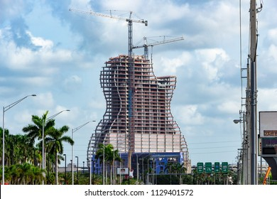 HOLLYWOOD, FLORIDA, USA - JULY 8, 2018: New hotel under construction at the Seminole Hard Rock Casino, all floors in place. This is the largest guitar shaped building in the world.