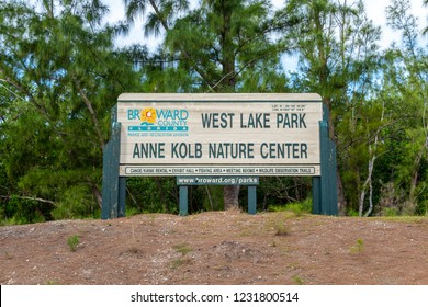 HOLLYWOOD, FLORIDA, USA - NOVEMBER 16, 2018: Anne Kolb Nature Center at West Lake Park sign