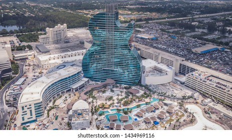 Hollywood, Florida/USA - June 26, 2019: Aerial view on New Hard Rock Casino Hotel, iconic Guitar Hotel with more than 800 luxury guest rooms. Drone landscape. The Guitar Hotel under construction.