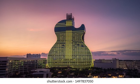 Hollywood, Florida/USA - September 06, 2019: Aerial view on New Hard Rock Casino Hotel, iconic Guitar Hotel with more than 800 luxury guest rooms. Drone View. The Guitar Hotel at Sunset.