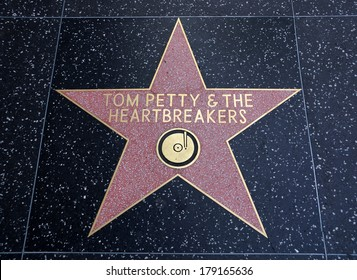 HOLLYWOOD - JANUARY 23: Tom Petty & the Heartbreakers star on Hollywood Walk of Fame on January 23, 2014 in Hollywood, California. This star is located on Hollywood Blvd. one of 2400 celebrity stars.