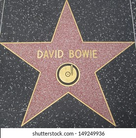 HOLLYWOOD - JULY 11: David Bowie's star on Hollywood Walk of Fame, as seen on July 11, 2013 in Hollywood in California. This star is located on Hollywood Blvd. and is one of 2400 celebrity stars.