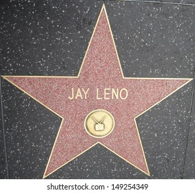 HOLLYWOOD - JULY 11: Jay Leno's star on Hollywood Walk of Fame, as seen on July 11, 2013 in Hollywood in California. This star is located on Hollywood Blvd. and is one of 2400 celebrity stars.