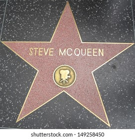 HOLLYWOOD - JULY 11: Steve McQueen's star on Hollywood Walk of Fame, as seen on July 11, 2013 in Hollywood in California. This star is located on Hollywood Blvd. and is one of 2400 celebrity stars.