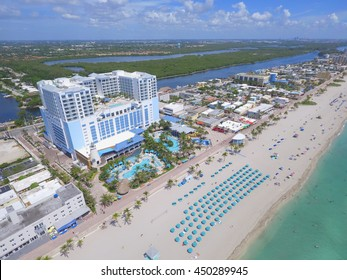HOLLYWOOD - JULY 9: Aerial image of Margaritaville Beach Hotel located at 1111 N Ocean Dr which offers guests beachfront hotel suites and a surf pool July 9, 2016 in Hollywood Beach FL