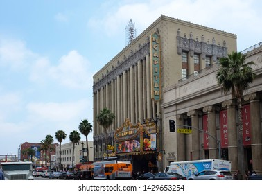 HOLLYWOOD - JUNE 18, 2019: El Capitan Theatre is a fully restored movie palace on Hollywood Boulevard.