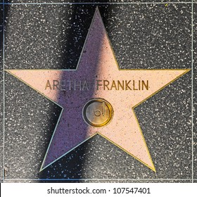 HOLLYWOOD - JUNE 24: Aretha Franklin's star on Hollywood Walk of Fame on June 24, 2012 in Hollywood, California. This star is located on Hollywood Blvd. and is one of 2400 celebrity stars.
