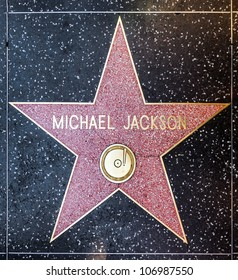 HOLLYWOOD - JUNE 26: Michael Jackson's star on Hollywood Walk of Fame on June 26, 2012 in Hollywood, California. This star is located on Hollywood Blvd. and is one of 2400 celebrity stars.