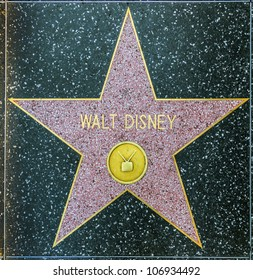 HOLLYWOOD - JUNE 26: Walt Disney's star on Hollywood Walk of Fame on June 26, 2012 in Hollywood, California. This star is located on Hollywood Blvd. and is one of 2400 celebrity stars.