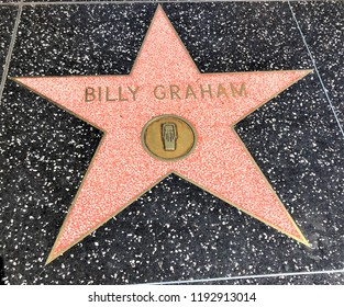 Hollywood, LA, USA - September 18, 2018: Billy Graham's star sign on Hollywood Walk of Fame is located on Hollywood Blvd.