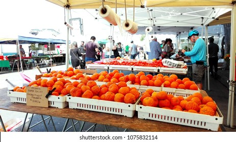 HOLLYWOOD, Los Angeles, California - April 8, 2018: Hollywood Farmers' Market on Ivar Ave. and Selma Avenue