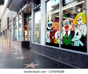 HOLLYWOOD, Los Angeles, California - September 17, 2018: LINE FRIENDS BT21 Pop-up Store in Hollywood on 6922 Hollywood Blvd, Los Angeles