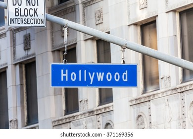 HOLLYWOOD, LOS ANGELES - SEPTEMBER 11: Views of the Walk of Fame and the Buildings at the Hollywood Boulevard on September 11, 2015. This street is an icon for the Movie industry in Hollywood.