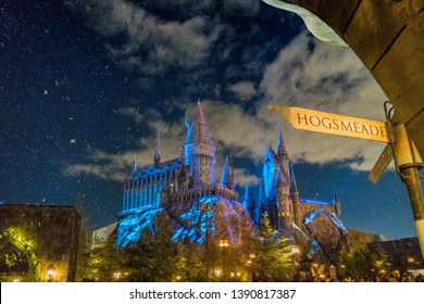 Hollywood, Los Angeles / USA - December  1 2018 View of Hogwarts Castle in Universal Studios Hollywood at night
