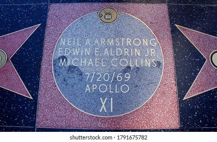Hollywood, Los Angeles/USA - June 2014. Apollo XI Astronauts on the Hollywood Walk of Fame in Hollywood, Los Angeles.