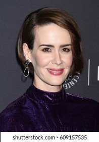 HOLLYWOOD - MAR 26:  Sarah Paulson arrives to the PaleyFest 2017: American Horror Story: Roanoke  on March 26, 2017 in Hollywood, CA