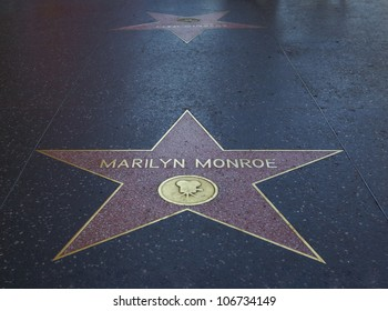 HOLLYWOOD - MARCH 2: Marilyn Monroe's star at the Walk of Fame on March 2, 2012. 2012 is the 50th anniversary of Monroe's death on 5th of August 1962.