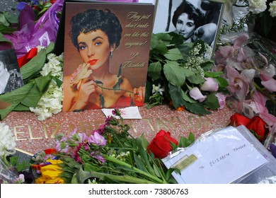HOLLYWOOD - MARCH 23: Following news of Dame Elizabeth Taylor's death, fans create a memorial of flowers and notes for her on her star on the Hollywood Walk Of Fame on March 23, 2011 Hollywood, CA
