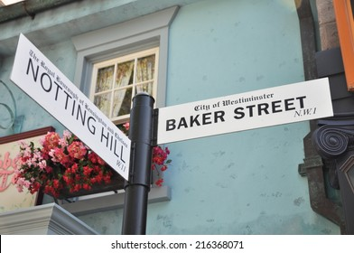 HOLLYWOOD - MAY 10 2012: Notting Hill / Baker Street Signs in Universal Studios Hollywood on May 10, 2012.