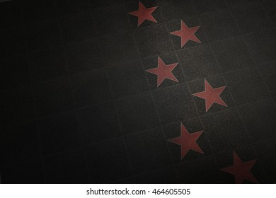 Hollywood no names/empty marble red stars background -3d illustration
