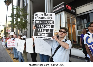 HOLLYWOOD - NOVEMBER 13 2016: Activists gathered in front of CNN building for another rally and protest against the election of Republican President-elect Donald Trump in Hollywood CA