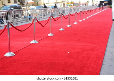 "HOLLYWOOD - SEPTEMBER 22, 2010: red carpet set up for the premiere of the movie ""You Again"" at the El Capitan Theatre September 22, 2010 Hollywood CA."