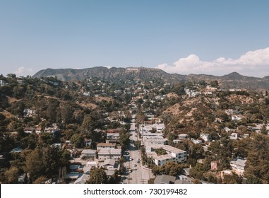 Hollywood sign district in Los Angeles, USA. Beautiful Hollywood