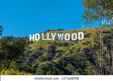 Hollywood sign in the hills of Hollywood - CALIFORNIA, UNITED STATES - MARCH 18, 2019