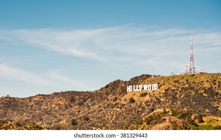 Hollywood sign, at LA, California on February 11, 2016