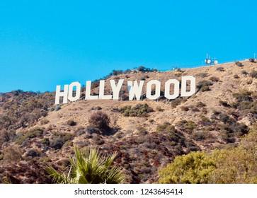 Hollywood sign, Mount Lee, Hollywood Hills, Santa Monica Mountains, Los Angeles, California, USA, October 2012.