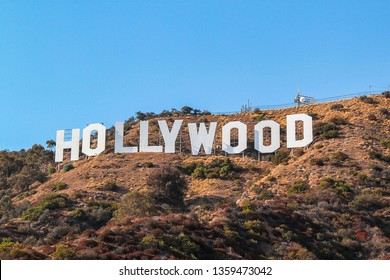 HOLLYWOOD sign on blue sky background. World famous landmark. USA. Los Angeles, California. 09-11-2012.