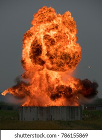 Hollywood style explosion.  Here is a picture of an EOD demolition using fuel to create a fireball.