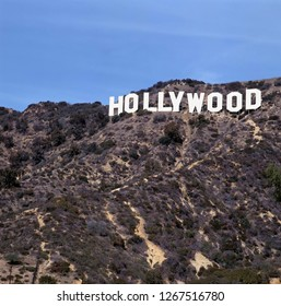 HOLLYWOOD, USA - APRIL 12, 2015: Located in Hollywood Hills at Mount Lee the world famous landmark Hollywood Sign in Los Angeles, California.