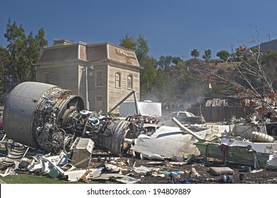 Hollywood- USA, October, 2: Artificial Immitation of the Airplane Crash Created at  Universal Studios in Los Angeles in October, 2, 2013, United States Of America