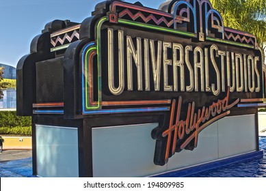 Hollywood- USA, October, 3: Universal Studios Sign seen at Universal Studios in Los Angeles in October, 3, 2013, United States Of America