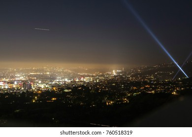 Hollywood view at night from Observatory, L.A.
