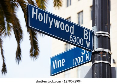 Hollywood and Vine Sign in Los Angeles, California.