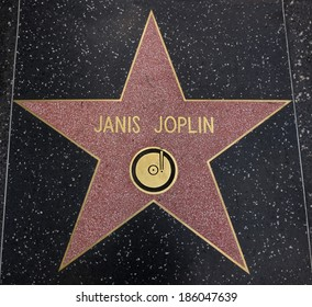 HOLLYWOOD,CA - DECEMBER 19, 2013: Janis Joplin tribute on the Walk of Fame. This star is located on Hollywood Blvd. and is one of 2400 celebrity stars