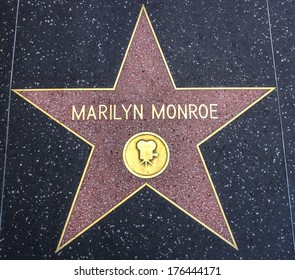 HOLLYWOOD,CA - DECEMBER 19, 2013: : Marilyn Monroe's star on Hollywood Walk of Fame. This star is located on Hollywood Blvd. and is one of 2400 celebrity stars.