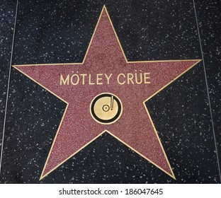 HOLLYWOOD,CA - DECEMBER 19, 2013: Motley Crue tribute on the Walk of Fame. This star is located on Hollywood Blvd. and is one of 2400 celebrity stars