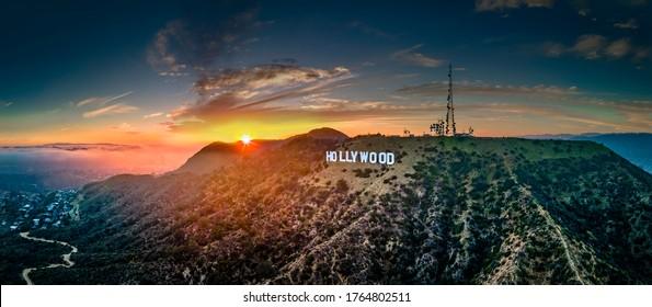 Hollywood,CALA county-62420:Hollywood sign with sun-burst