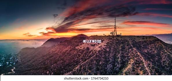Hollywood,CALA county-62420:Hollywood sign at sunset