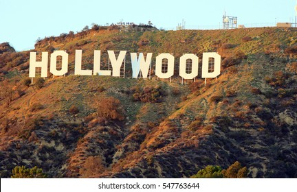 HOLLYWOOD/CALIFORNIA - DECEMBER 27, 2016: Hollywood Sign. World famous landmark and American cultural icon on Mount Lee in Hollywood Hills area of Santa Monica Mountains. Hollywood,