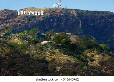 HOLLYWOOD/CALIFORNIA - JAN. 1, 2017: Hollywood Sign. World famous landmark and American cultural icon on Mount Lee in Hollywood Hills area of Santa Monica Mountains. Hollywood, California USA