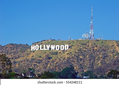 HOLLYWOOD/CALIFORNIA - JANUARY 1, 2017: Hollywood Sign. World famous landmark and American cultural icon on Mount Lee in Hollywood Hills area of Santa Monica Mountains. Hollywood,