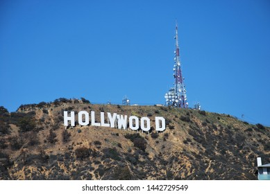 HOLLYWOOD/CALIFORNIA - MAR. 23, 2019: Hollywood Sign. World famous landmark and American cultural icon on Mount Lee in Hollywood Hills area of Santa Monica Mountains. Hollywood, California USA