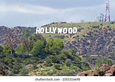 HOLLYWOOD/CALIFORNIA - MARCH 25, 2018: Hollywood Sign. World famous landmark & American cultural icon on Mount Lee in the Hollywood Hills area of the Santa Monica Mountains. Hollywood, California USA
