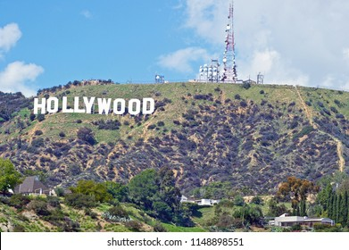 HOLLYWOOD/CALIFORNIA - MARCH 25, 2018: Hollywood Sign: World famous landmark and American cultural icon on Mount Lee in Hollywood Hills area of the Santa Monica mountains. Hollywood, California USA